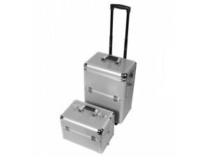 Kosmetický kufřík hliníkový - velký - stříbrný - rozložený